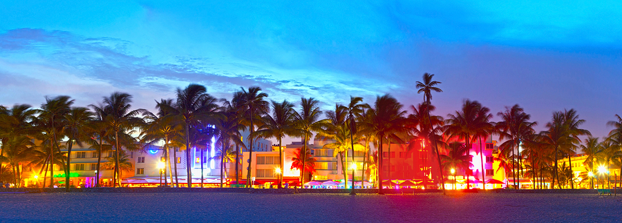 Miami Beach Florida hotels and restaurants at sunset on Ocean Drive world famous destination for it's nightlife beautiful weather and pristine beaches