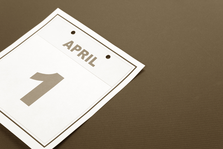 Fools' Day calendar date April 1 for background