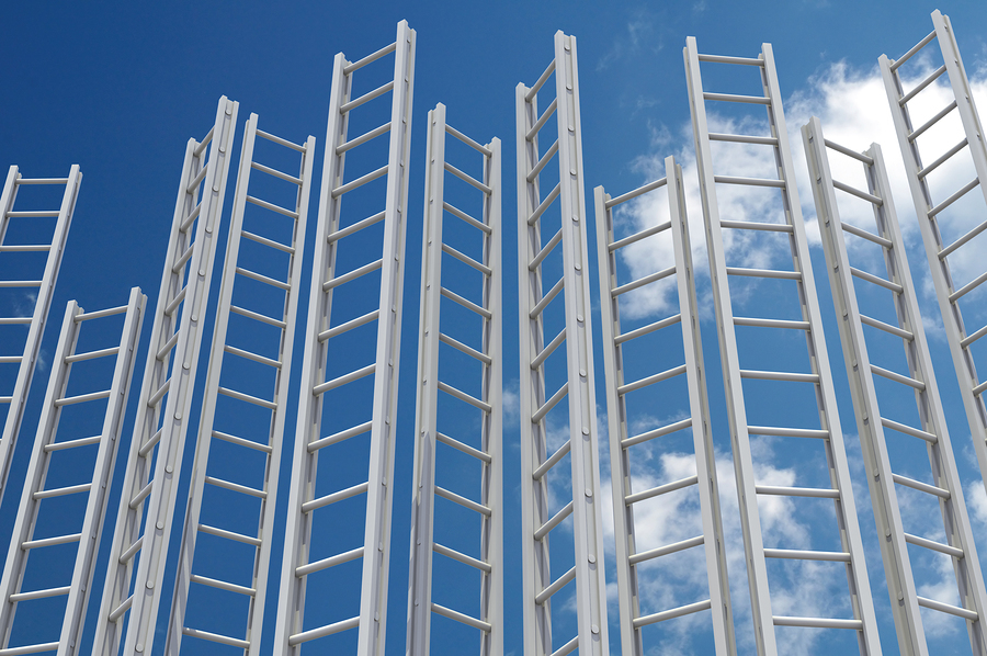 Corporate Ladders. Multiple white ladders against a blue sky. 3D render.