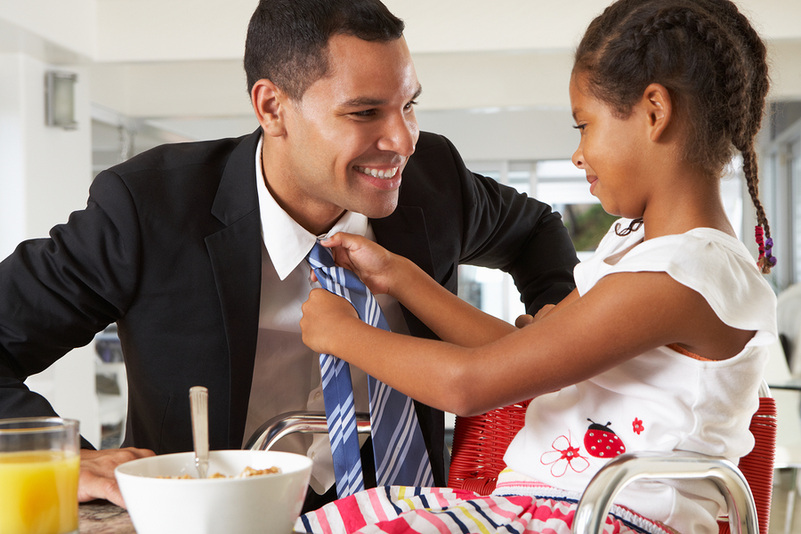 Daughter Straightens Father's Tie Before He Leaves For Work