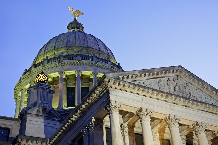 Dome Of State Capitol Building In Jackson