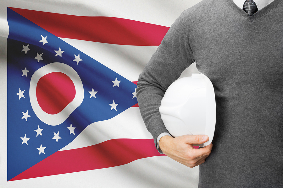 Engineer with flag on background series - Ohio
