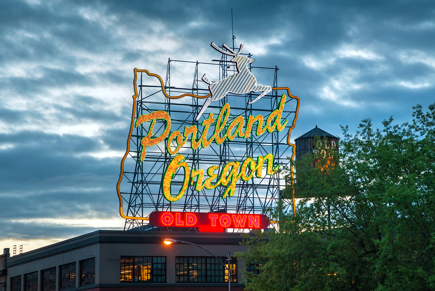 Famous Old Town Portland Oregon neon sign in the night