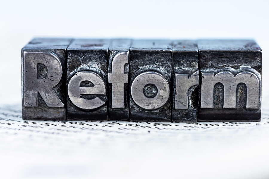 "the word ""reform"" in lead letters written. symbolic photo for qu"