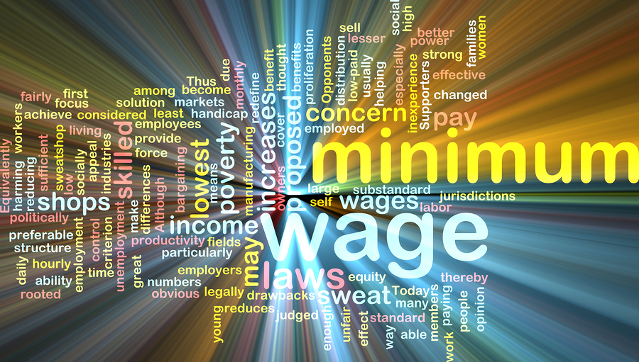 Word cloud concept illustration of minimum wage glowing light effect