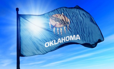 Oklahoma (USA) flag waving on the wind