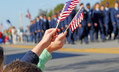 Flags at Veteran's Day Parade